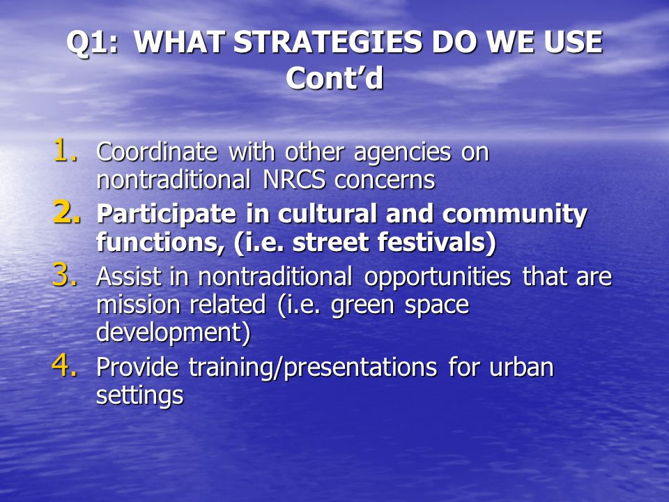 PART 2 Q1:WHAT STRATEGIES DO WE USE TO DELIVER OUTREACH.