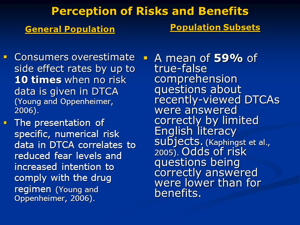 Perception of Risks and Benefits General Population  Consumers overestimate side effect rates by up to 10 times when no risk data is given in DTCA (Young and Oppenheimer, 2006).