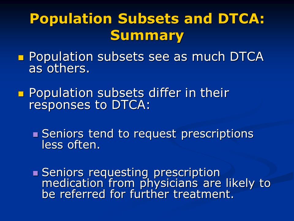 Population Subsets and DTCA: Summary Population subsets see as much DTCA as others.