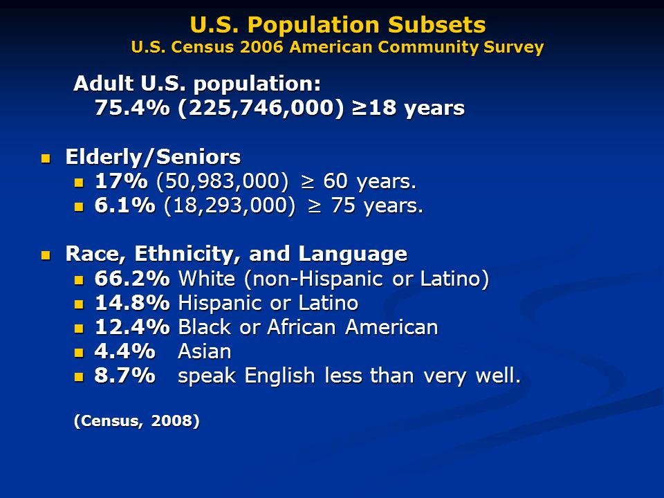 U.S. Population Subsets U.S. Census 2006 American Community Survey Adult U.S.