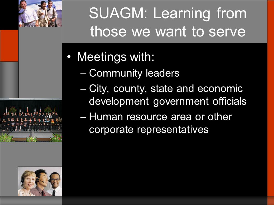 SUAGM: Learning from those we want to serve Conducted focus groups of target population –Considered differences within the population in determining group composition: national origin, language usage, place of residence/work