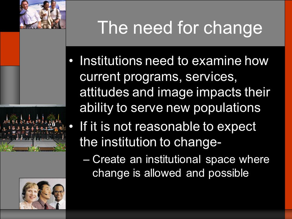 The need for change Most involved in developing programs for adults have lived this need –Similar process must occur for each group you want to serve well