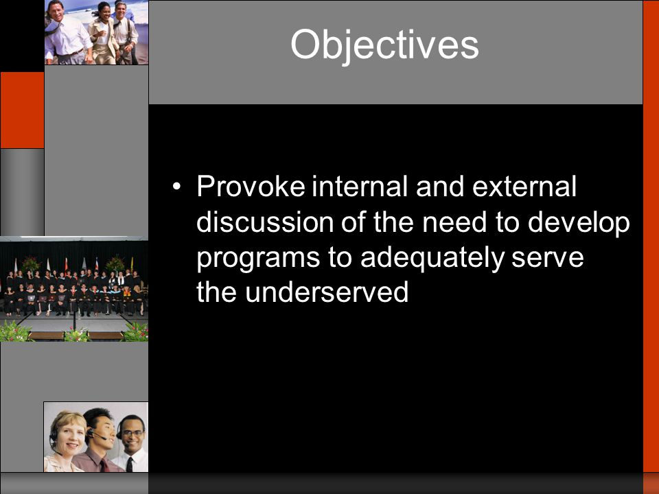 Objectives Present the development of the Accelerated Dual Language model as a case study- –to illustrate the development of such a program –to demonstrate the possibility of serving the fastest growing underserved segment: Latinos