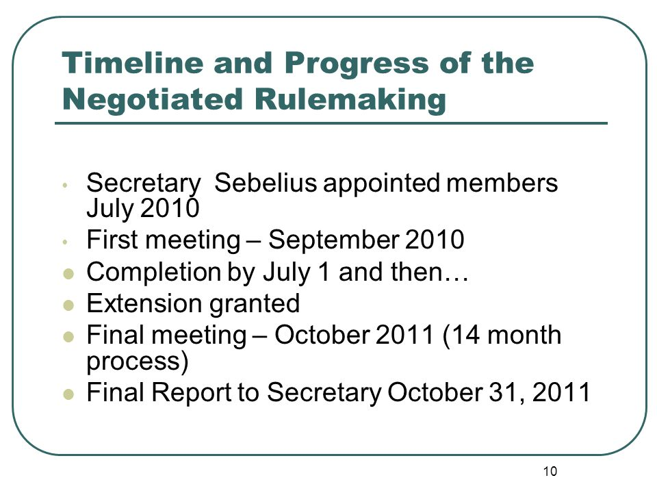 Timeline and Progress of the Negotiated Rulemaking Secretary Sebelius appointed members July 2010 First meeting – September 2010 Completion by July 1
