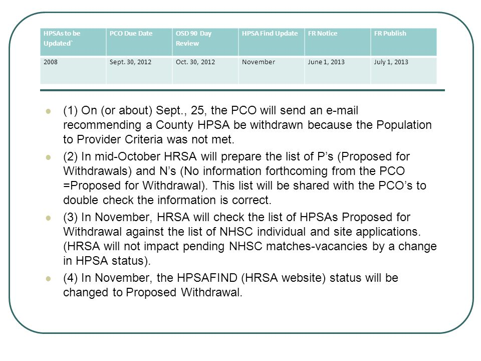 (1) On (or about) Sept., 25, the PCO will send an e-mail recommending a County HPSA be withdrawn because the Population to Provider Criteria was not met.