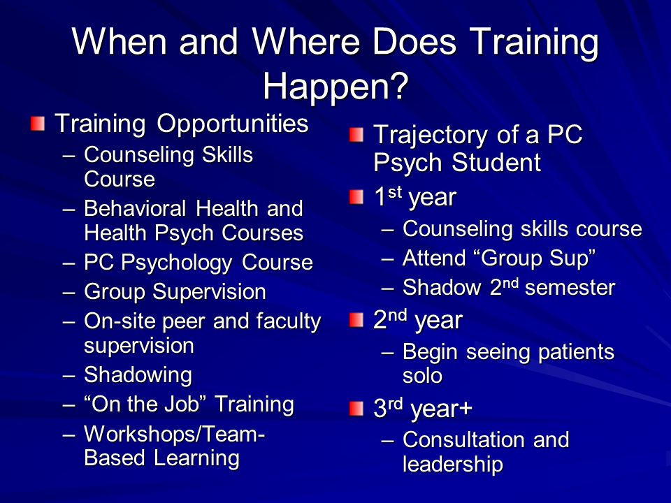 When and Where Does Training Happen.