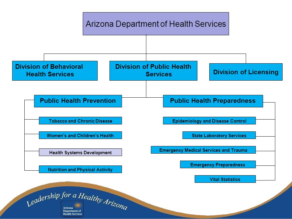 Arizona Department of Health Services Division of Behavioral Health Services Division of Public Health Services Division of Licensing Tobacco and Chronic Disease Public Health PreventionPublic Health Preparedness Women's and Children's Health Nutrition and Physical Activity Health Systems Development Epidemiology and Disease Control Vital Statistics State Laboratory Services Emergency Medical Services and Trauma Emergency Preparedness