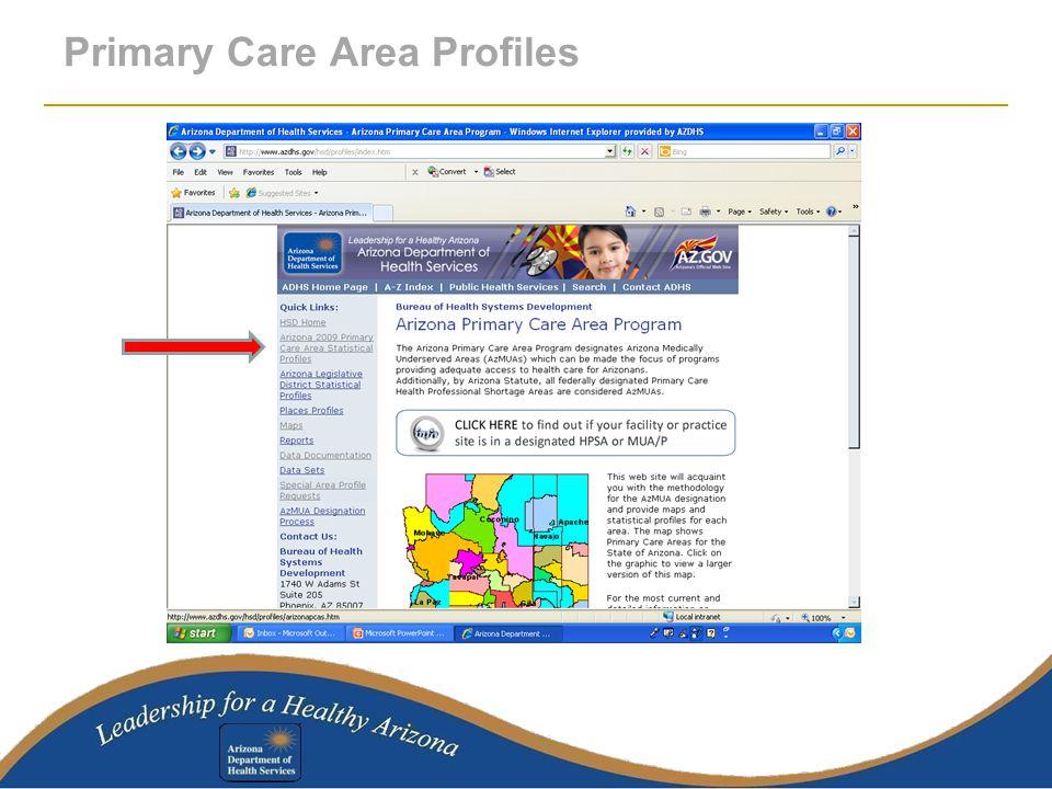 Primary Care Area Profiles