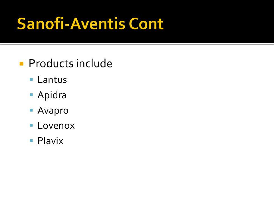  Products include  Lantus  Apidra  Avapro  Lovenox  Plavix