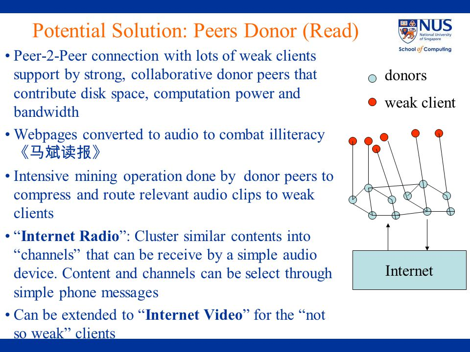 Potential Solution: Peers Donor (Read) Peer-2-Peer connection with lots of weak clients support by strong, collaborative donor peers that contribute disk space, computation power and bandwidth Webpages converted to audio to combat illiteracy 《马斌读报》 Intensive mining operation done by donor peers to compress and route relevant audio clips to weak clients Internet Radio : Cluster similar contents into channels that can be receive by a simple audio device.