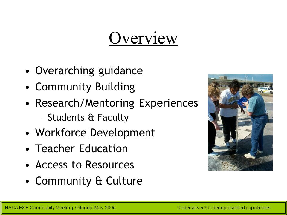 NASA ESE Community Meeting, Orlando, May 2005Underserved/Underrepresented populations Overview Overarching guidance Community Building Research/Mentor