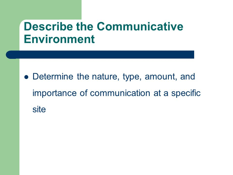 Describe the Communicative Environment Determine the nature, type, amount, and importance of communication at a specific site