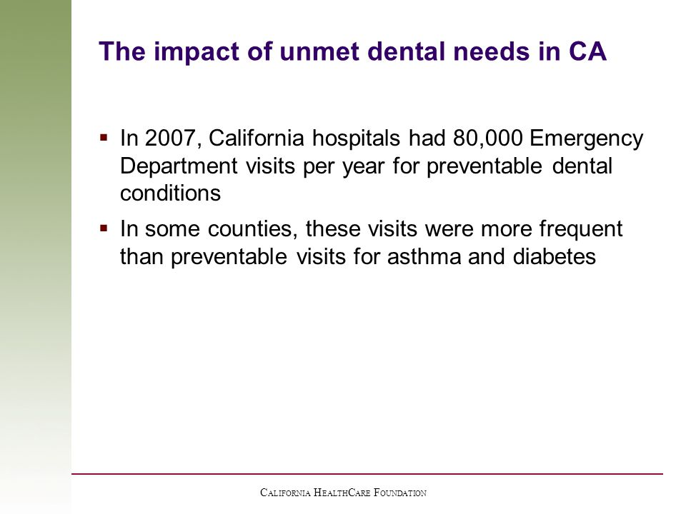 The impact of unmet dental needs in CA  In 2007, California hospitals had 80,000 Emergency Department visits per year for preventable dental conditions  In some counties, these visits were more frequent than preventable visits for asthma and diabetes