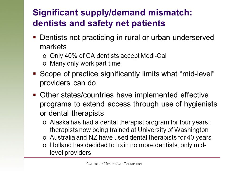 C ALIFORNIA H EALTH C ARE F OUNDATION Significant supply/demand mismatch: dentists and safety net patients  Dentists not practicing in rural or urban underserved markets oOnly 40% of CA dentists accept Medi-Cal oMany only work part time  Scope of practice significantly limits what mid-level providers can do  Other states/countries have implemented effective programs to extend access through use of hygienists or dental therapists oAlaska has had a dental therapist program for four years; therapists now being trained at University of Washington oAustralia and NZ have used dental therapists for 40 years oHolland has decided to train no more dentists, only mid- level providers
