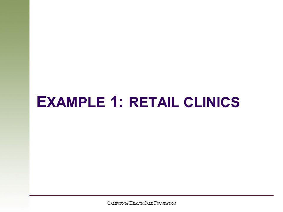 C ALIFORNIA H EALTH C ARE F OUNDATION E XAMPLE 1: RETAIL CLINICS