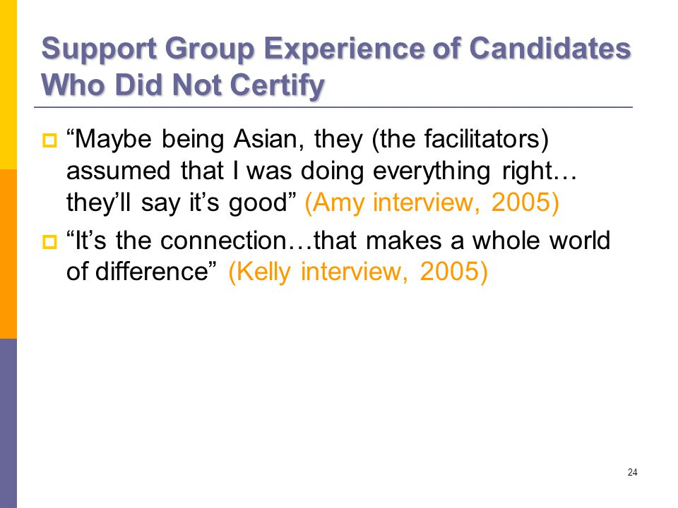 24 Support Group Experience of Candidates Who Did Not Certify  Maybe being Asian, they (the facilitators) assumed that I was doing everything right… they'll say it's good (Amy interview, 2005)  It's the connection…that makes a whole world of difference (Kelly interview, 2005)