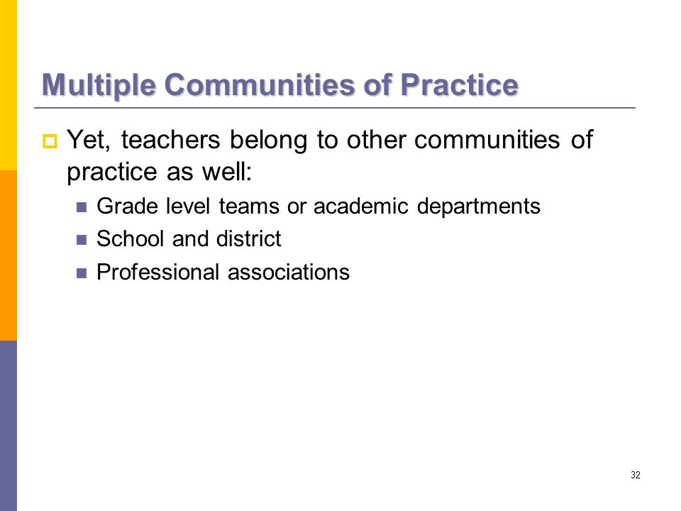 32 Multiple Communities of Practice  Yet, teachers belong to other communities of practice as well: Grade level teams or academic departments School and district Professional associations