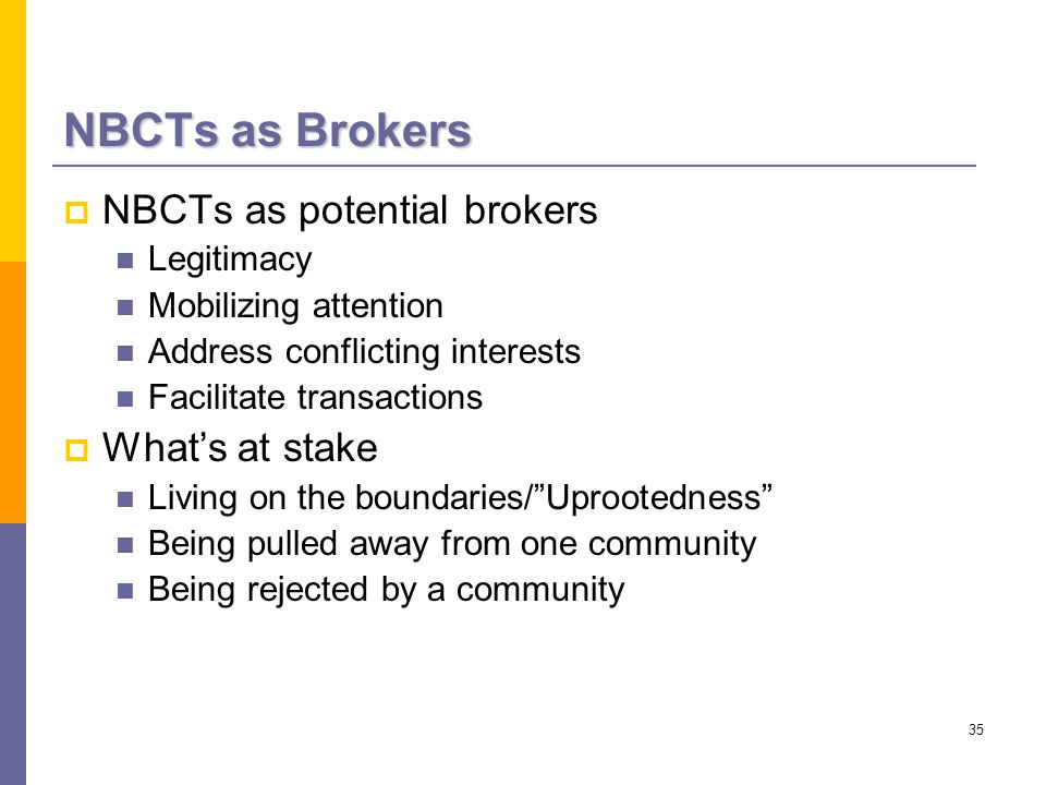 35 NBCTs as Brokers  NBCTs as potential brokers Legitimacy Mobilizing attention Address conflicting interests Facilitate transactions  What's at stake Living on the boundaries/ Uprootedness Being pulled away from one community Being rejected by a community
