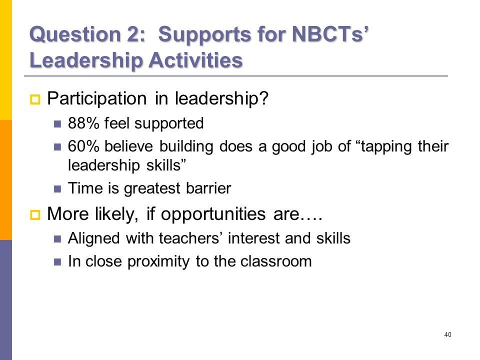40 Question 2: Supports for NBCTs' Leadership Activities  Participation in leadership.