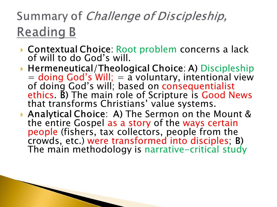  Contextual Choice: Root problem concerns a lack of will to do God's will.