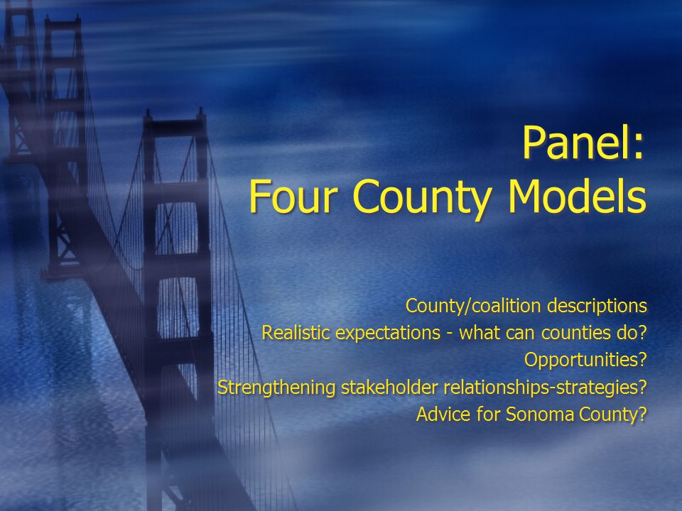 Panel: Four County Models County/coalition descriptions Realistic expectations - what can counties do.