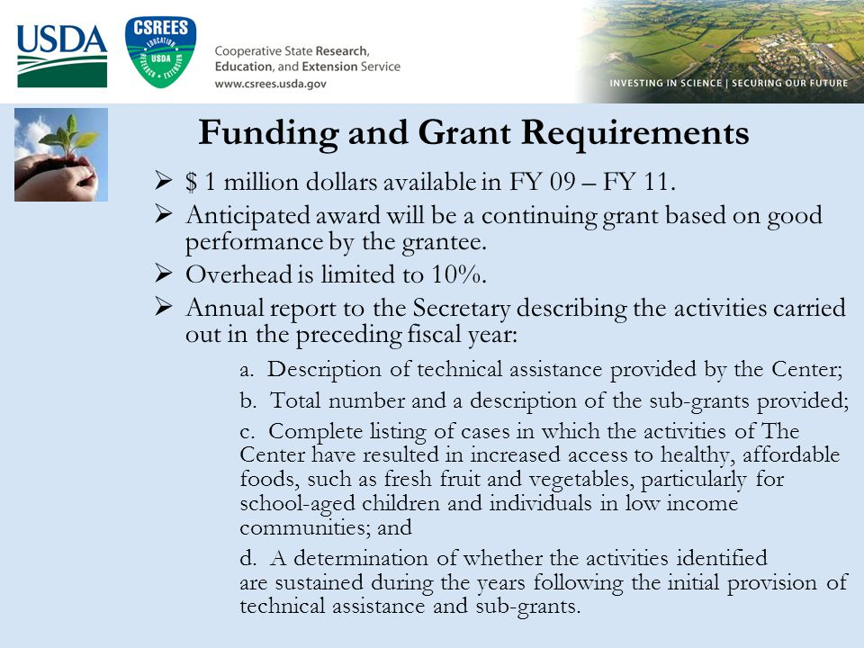 Community Food Projects 2009 Application Process –Email notification list Send a request to: –etuckermanty@csrees.usda.gov oretuckermanty@csrees.usda.gov –khanks@csrees.usda.gov –Electronic Process www.grants.gov