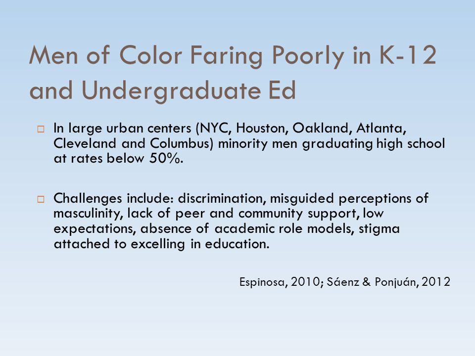 Men of Color Faring Poorly in K-12 and Undergraduate Ed  In large urban centers (NYC, Houston, Oakland, Atlanta, Cleveland and Columbus) minority men graduating high school at rates below 50%.