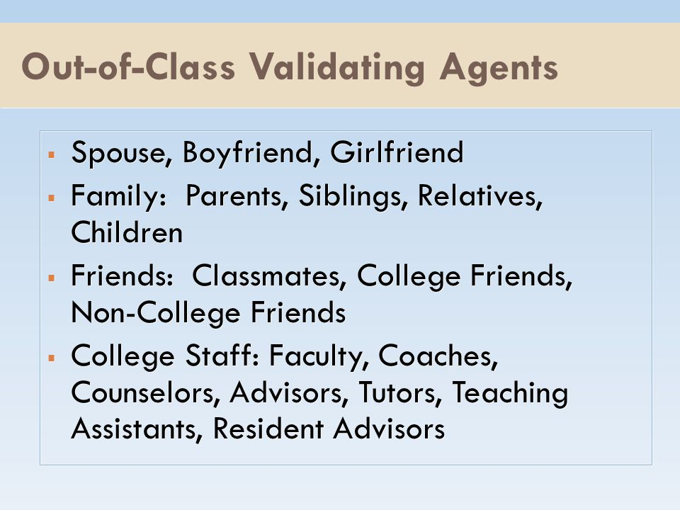 Out-of-Class Validating Agents  Spouse, Boyfriend, Girlfriend  Family: Parents, Siblings, Relatives, Children  Friends: Classmates, College Friends, Non-College Friends  College Staff: Faculty, Coaches, Counselors, Advisors, Tutors, Teaching Assistants, Resident Advisors  Spouse, Boyfriend, Girlfriend  Family: Parents, Siblings, Relatives, Children  Friends: Classmates, College Friends, Non-College Friends  College Staff: Faculty, Coaches, Counselors, Advisors, Tutors, Teaching Assistants, Resident Advisors