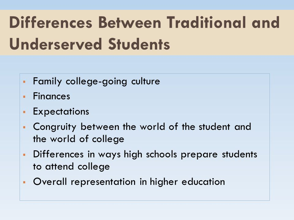 Differences Between Traditional and Underserved Students  Family college-going culture  Finances  Expectations  Congruity between the world of the student and the world of college  Differences in ways high schools prepare students to attend college  Overall representation in higher education