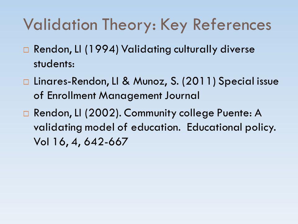 Validation Theory: Key References  Rendon, LI (1994) Validating culturally diverse students:  Linares-Rendon, LI & Munoz, S.