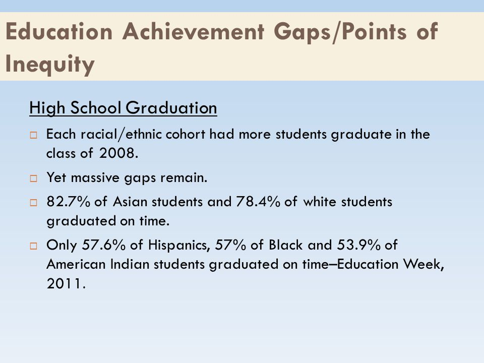 Education Achievement Gaps/Points of Inequity High School Graduation  Each racial/ethnic cohort had more students graduate in the class of 2008.