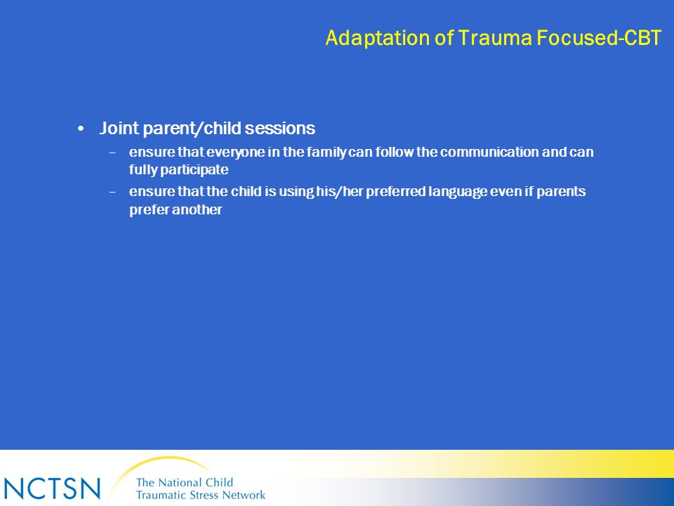 Adaptation of Trauma Focused-CBT Joint parent/child sessions –ensure that everyone in the family can follow the communication and can fully participate –ensure that the child is using his/her preferred language even if parents prefer another