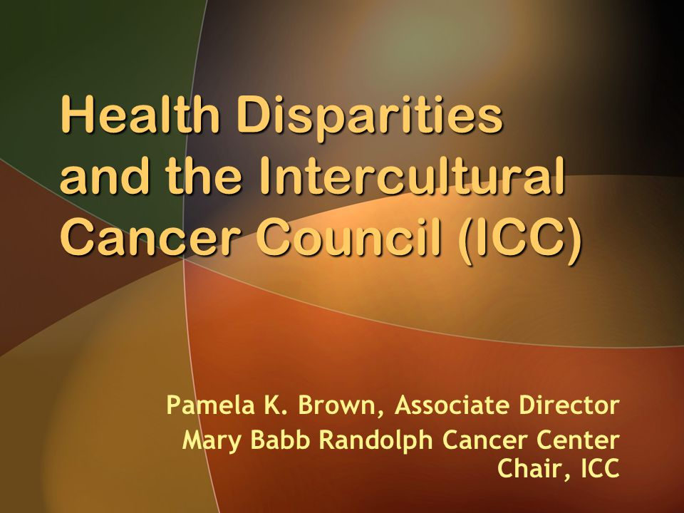 The ICC Mission The Intercultural Cancer Council (ICC) promotes policies, programs, partnerships, and research to eliminate the unequal burden of cancer among racial and ethnic minorities and medically underserved populations in the United States and its associated territories.