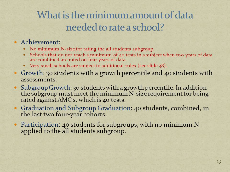 Achievement: No minimum N-size for rating the all students subgroup. Schools that do not reach a minimum of 40 tests in a subject when two years of da