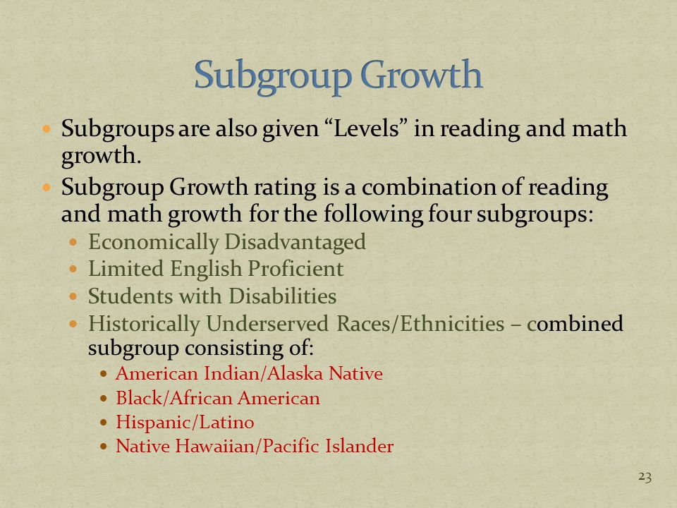 "Subgroups are also given ""Levels"" in reading and math growth. Subgroup Growth rating is a combination of reading and math growth for the following fou"