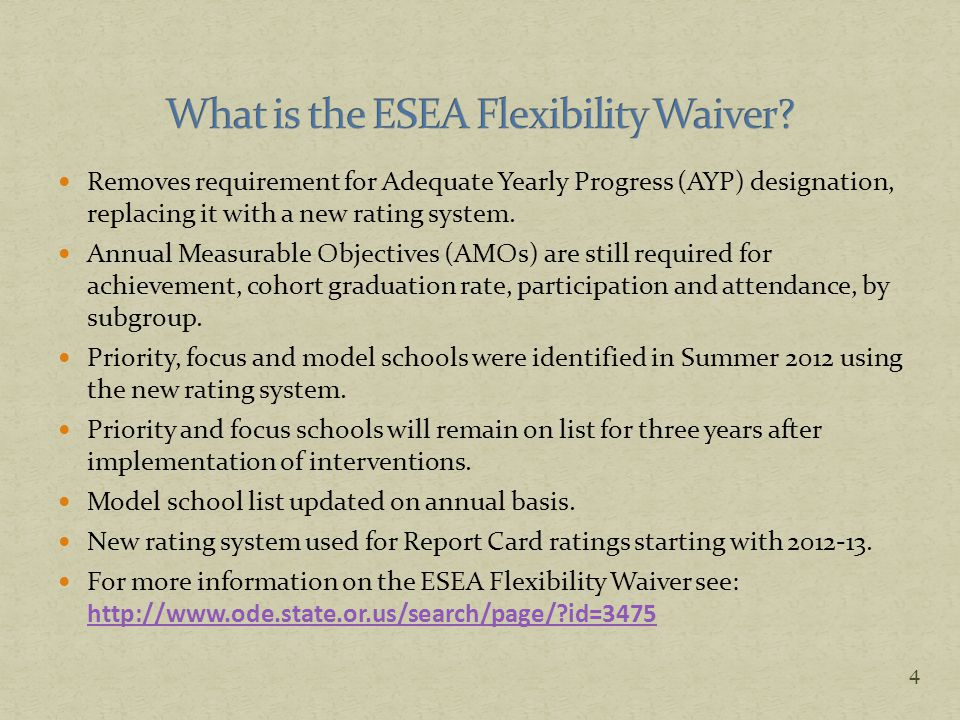 Annual Measurable Objectives (AMOs) still exist, but are folded into the new rating system.