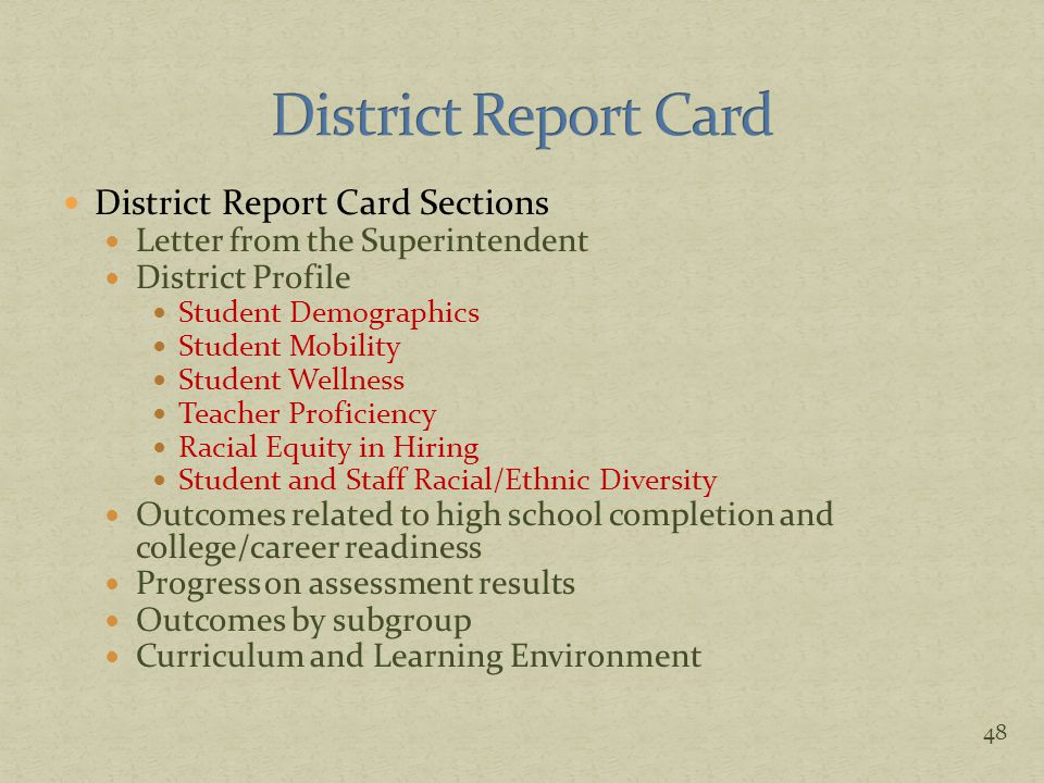 District Report Card Sections Letter from the Superintendent District Profile Student Demographics Student Mobility Student Wellness Teacher Proficien