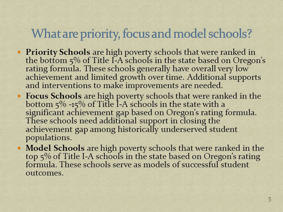 Schools are given Levels in reading and math, based on the combined percentage meeting for school as a whole.
