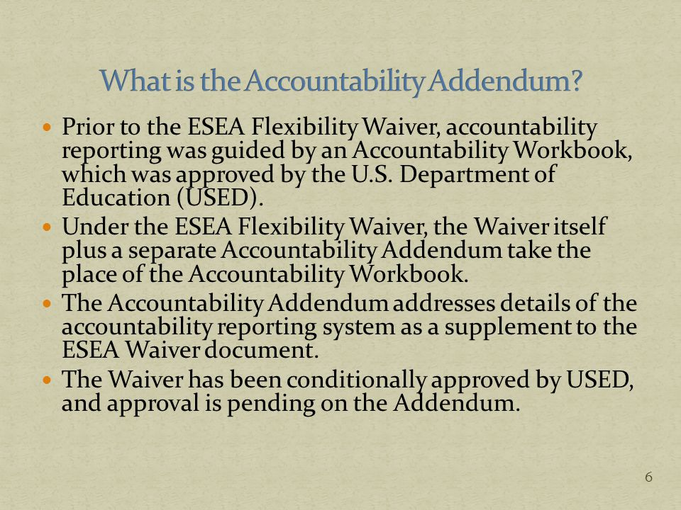 Under the ESEA Waiver, Oregon committed to developing a new accountability system, consisting of the following components: School Rating System Report Card Detail for Schools and Districts Summary Report Card for Schools and Districts District Achievement Compacts In addition, Oregon provides supplemental data to ensure that it meets all requirements of the federal non-regulatory guidance on state and local report cards.