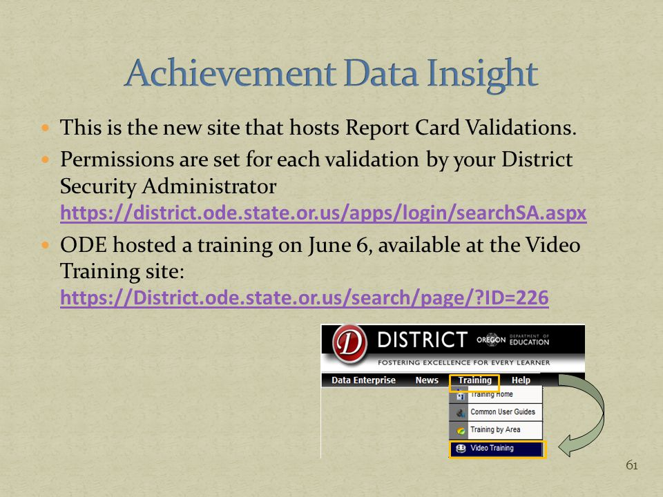 This is the new site that hosts Report Card Validations. Permissions are set for each validation by your District Security Administrator https://distr