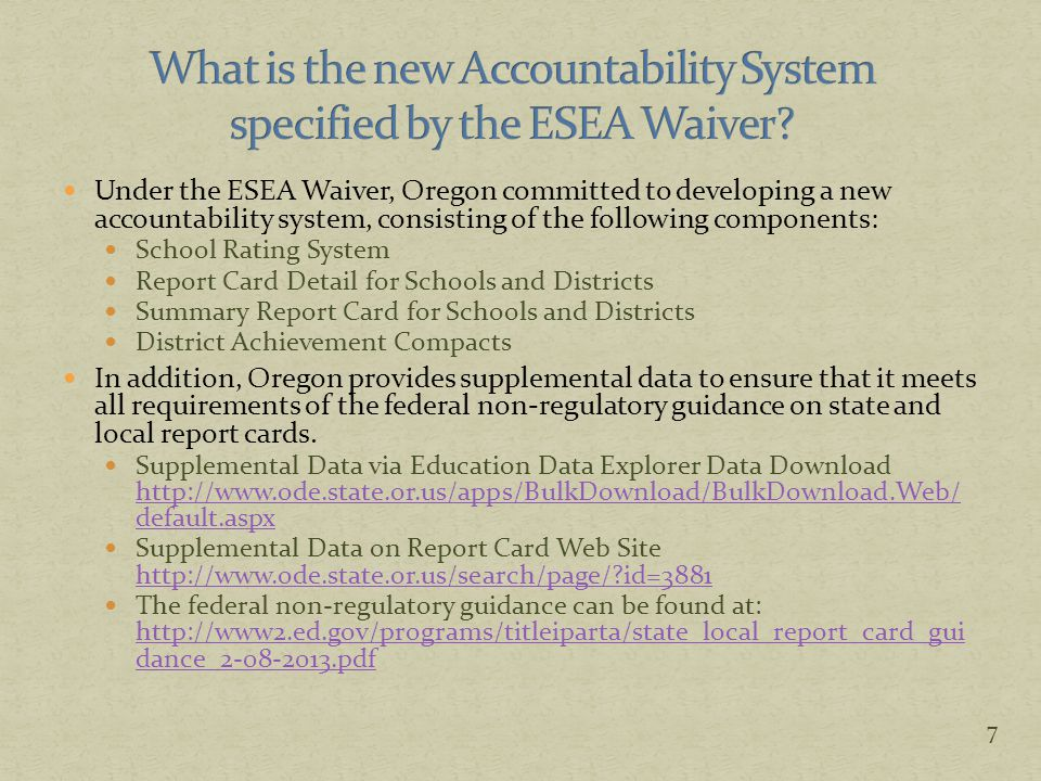 58 ESEA Waiver Report Card Detail & Achievement Compact Summary Report Card Education Data Explorer Enrolled in resident school or district as of first school day in May Enrolled in resident school or district as of first school day in May Enrolled in resident school or district as of first school day in May Full Academic Year only All students (both FAY and Non-FAY) Extended assessments included as met up to 1% cap Extended assessments included as not met English Learners in program currently or previous two years counted in EL subgroup English Learners are students who have ever been eligible for or participated in a program to acquire academic English Only English Learners currently in program counted in EL subgroup Assessments