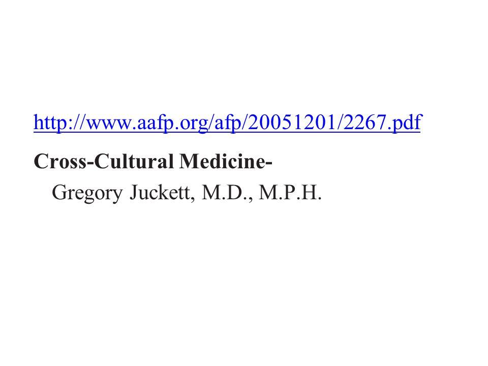 http://www.aafp.org/afp/20051201/2267.pdf Cross-Cultural Medicine- Gregory Juckett, M.D., M.P.H.