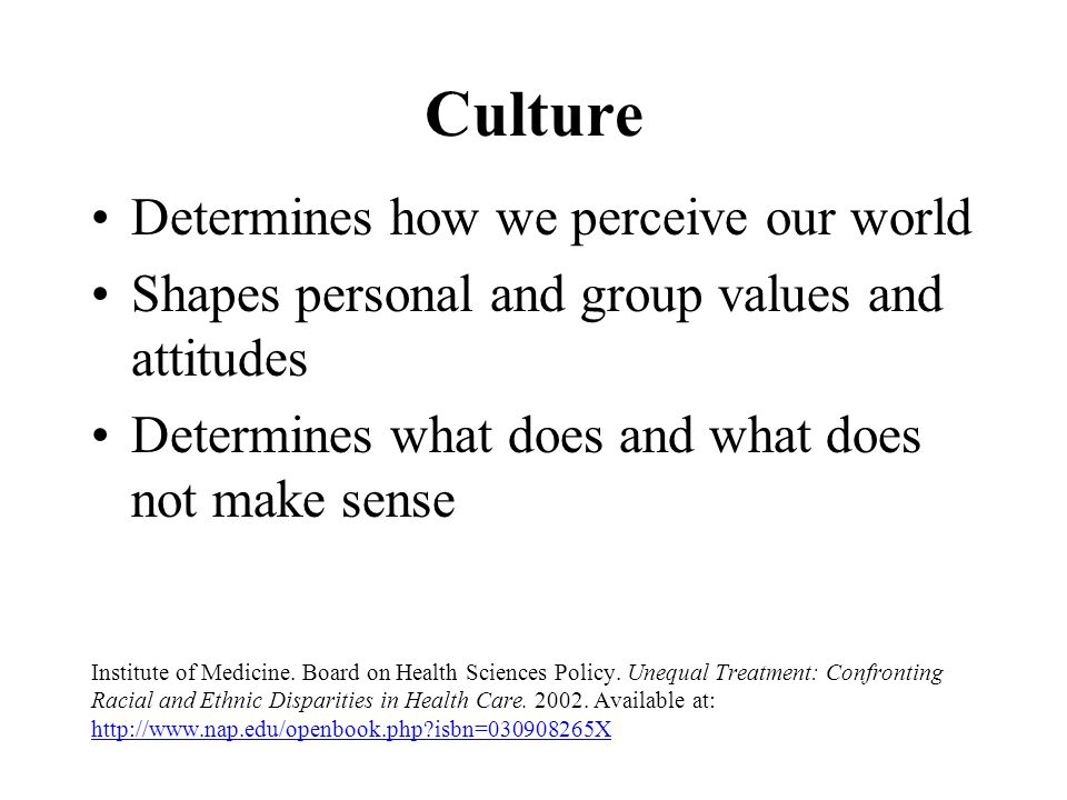 Culture Determines how we perceive our world Shapes personal and group values and attitudes Determines what does and what does not make sense Institut