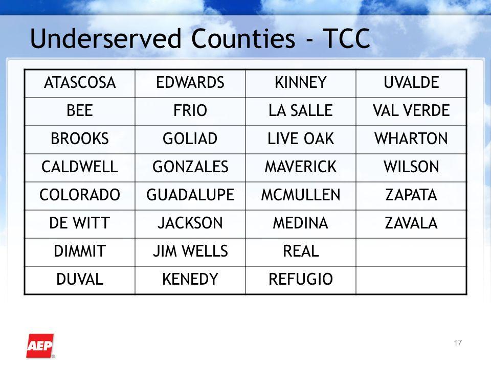 17 Underserved Counties - TCC ATASCOSAEDWARDSKINNEYUVALDE BEEFRIOLA SALLEVAL VERDE BROOKSGOLIADLIVE OAKWHARTON CALDWELLGONZALESMAVERICKWILSON COLORADOGUADALUPEMCMULLENZAPATA DE WITTJACKSONMEDINAZAVALA DIMMITJIM WELLSREAL DUVALKENEDYREFUGIO