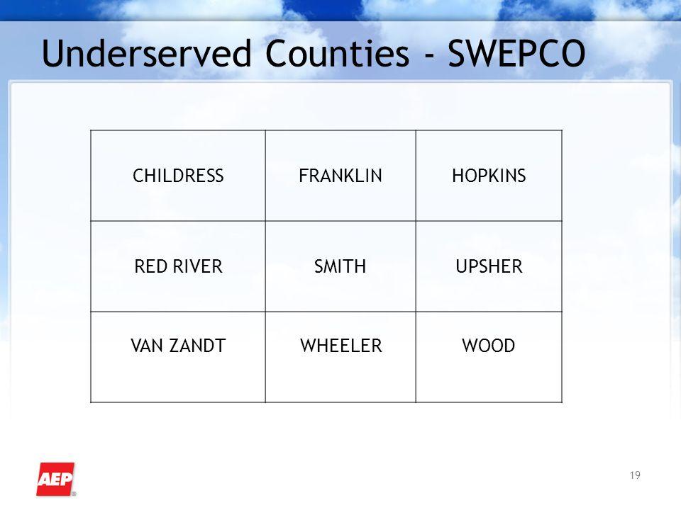 19 Underserved Counties - SWEPCO CHILDRESSFRANKLINHOPKINS RED RIVERSMITHUPSHER VAN ZANDTWHEELERWOOD