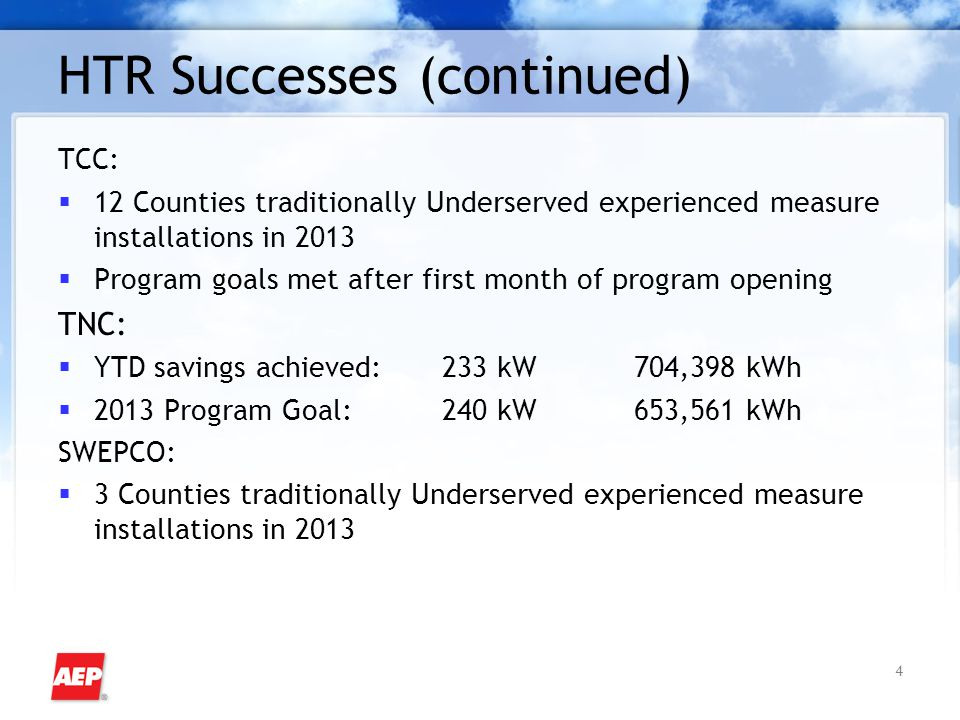 4 HTR Successes (continued) TCC:  12 Counties traditionally Underserved experienced measure installations in 2013  Program goals met after first mon