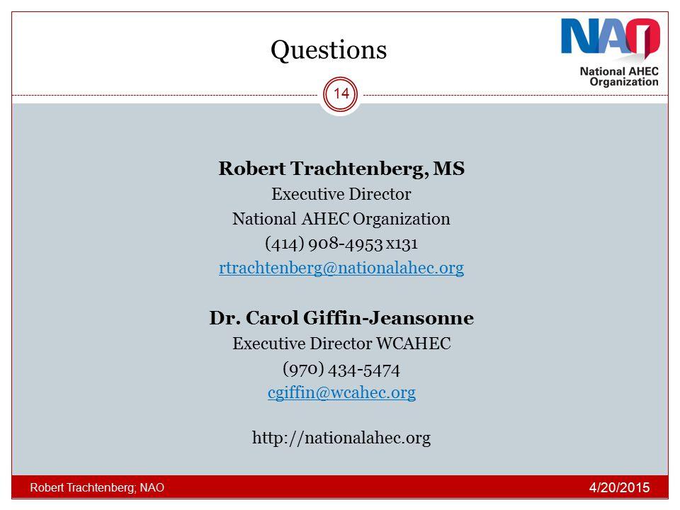 Questions Robert Trachtenberg, MS Executive Director National AHEC Organization (414) 908-4953 x131 rtrachtenberg@nationalahec.org Dr. Carol Giffin-Je