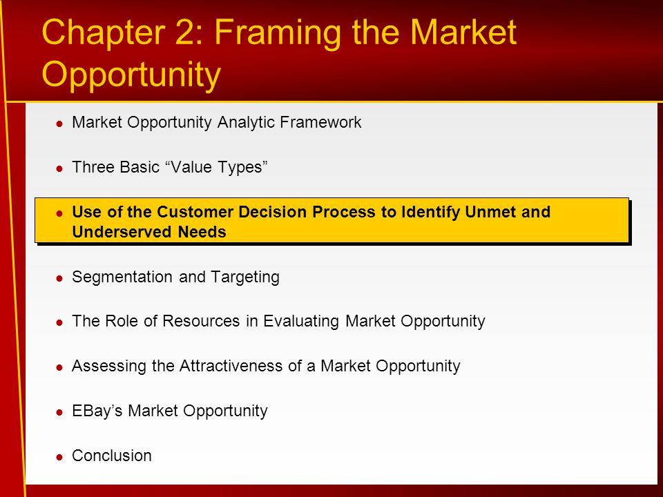 Market Opportunity Analytic Framework Three Basic Value Types Use of the Customer Decision Process to Identify Unmet and Underserved Needs Segmentation and Targeting The Role of Resources in Evaluating Market Opportunity Assessing the Attractiveness of a Market Opportunity EBay's Market Opportunity Conclusion Chapter 2: Framing the Market Opportunity