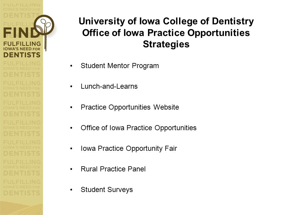 University of Iowa College of Dentistry Office of Iowa Practice Opportunities Strategies Student Mentor Program Lunch-and-Learns Practice Opportunitie