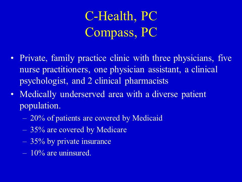Provision of Patient-Centered Care Referral from provider Patient seen by appointment Appointments are typically one hour in length Average number of patients seen/day = 6 Disorders: –Depression, bipolar, anxiety, dementia, schizoaffective, ADHD, eating, seizure, sleeping, addiction, chronic pain